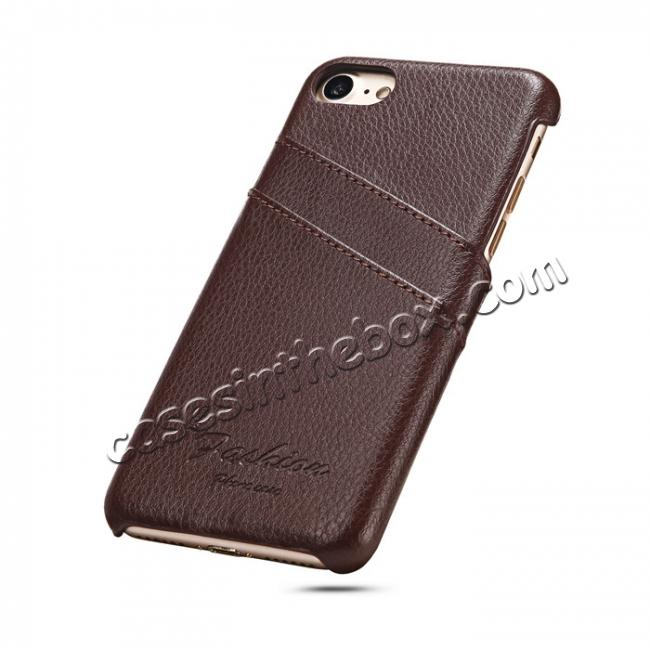 discount Genuine Lichee Leather Wallet Case Card Slot Slim Cover Skin For iPhone 7 Plus 5.5 inch - Brown