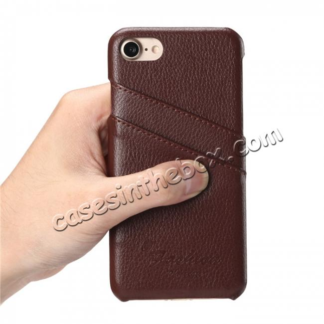 best price Genuine Lichee Leather Wallet Case Card Slot Slim Cover Skin For iPhone 7 Plus 5.5 inch - Brown
