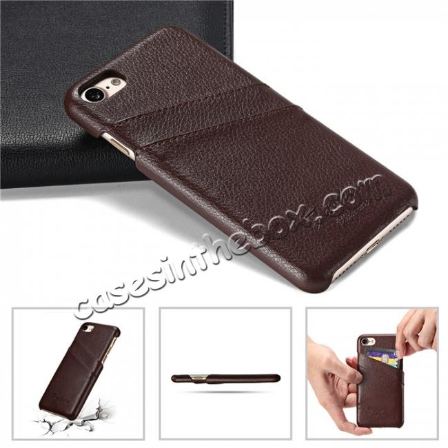 top quality Genuine Lichee Leather Wallet Case Card Slot Slim Cover Skin For iPhone 7 Plus 5.5 inch - Brown