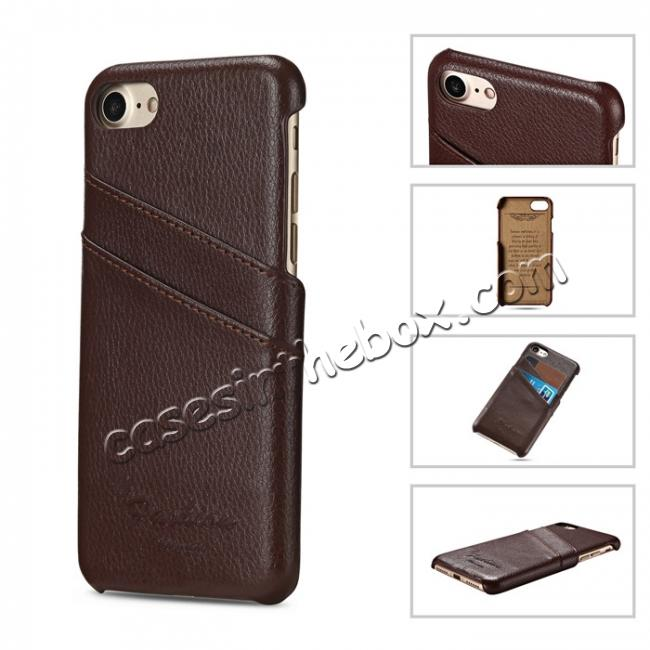 cheap Genuine Lichee Leather Wallet Case Card Slot Slim Cover Skin For iPhone 7 Plus 5.5 inch - Brown
