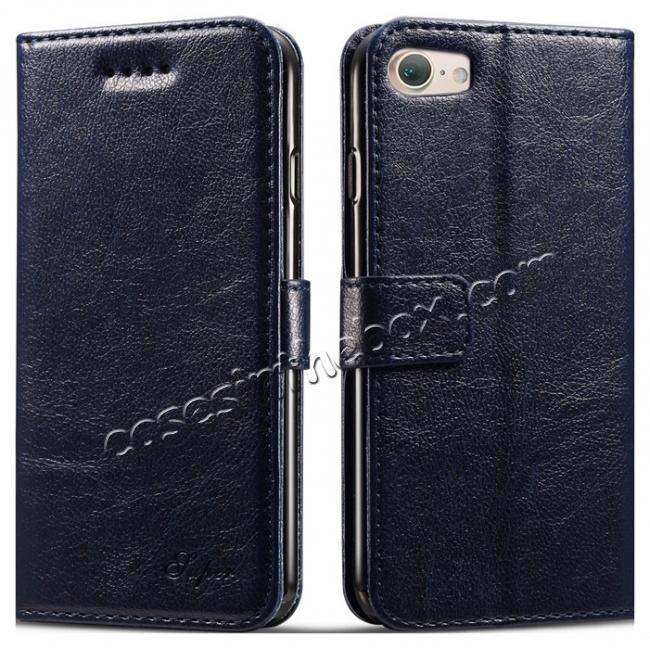 wholesale High quality PU Leather Floral Print Magnetic Stand Leather Case for iPhone 7 4.7 inch - Dark Blue