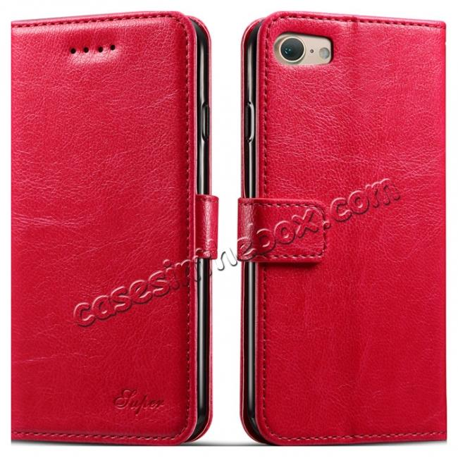 wholesale High quality PU Leather Floral Print Magnetic Stand Leather Case for iPhone 7 4.7 inch - Hot Pink