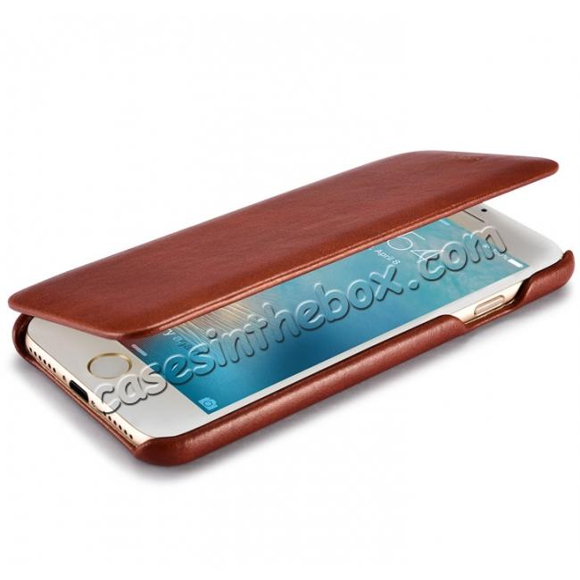 on sale ICARER Curved Edge Vintage Series Genuine Leather Side Flip Case For iPhone 7 - Brown