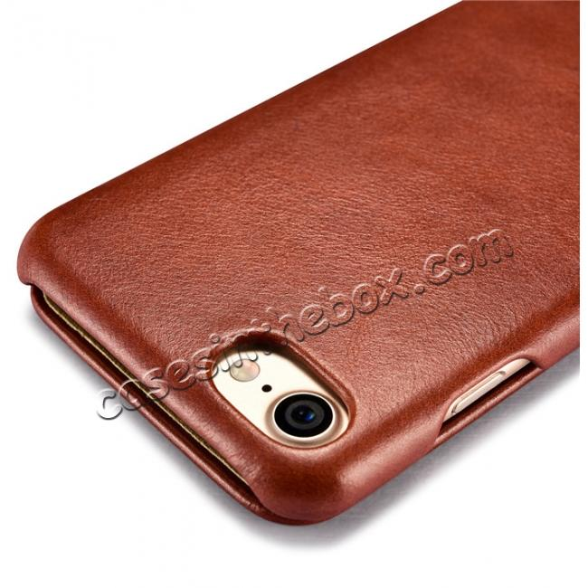 low price ICARER Curved Edge Vintage Series Genuine Leather Side Flip Case For iPhone 7 - Brown