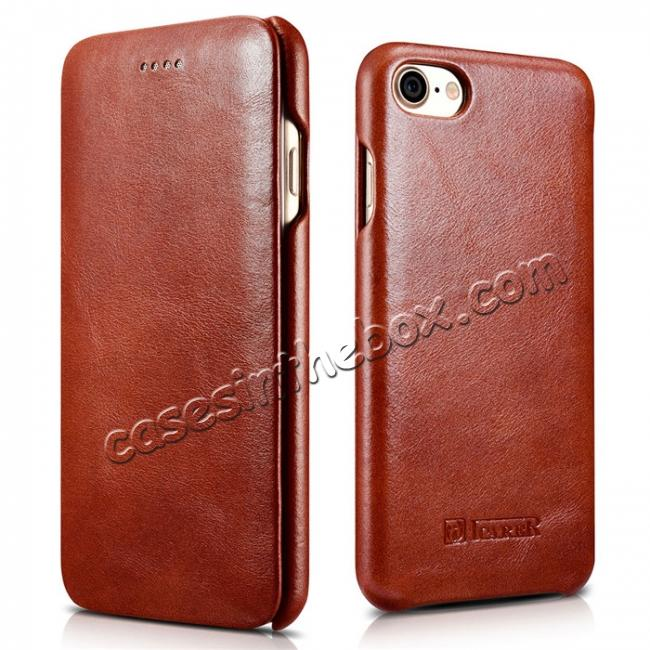 wholesale ICARER Curved Edge Vintage Series Genuine Leather Side Flip Case For iPhone 7 - Brown