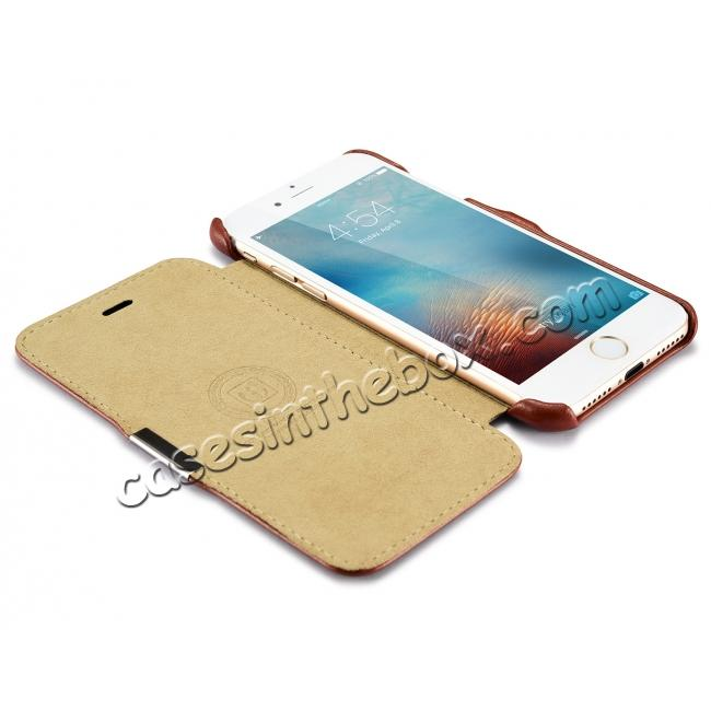 low price ICARER Vintage Genuine Leather Side Magnetic Flip Case for Apple iPhone 6 7 7 Plus 8 8 Plus X + 【FREE SHIPPING】