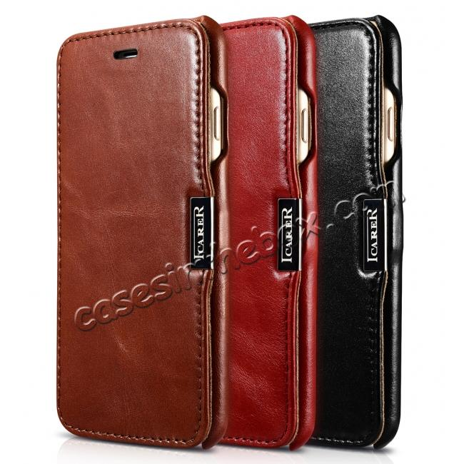 top quality ICARER Vintage Genuine Leather Side Magnetic Flip Case for Apple iPhone 7 - Red