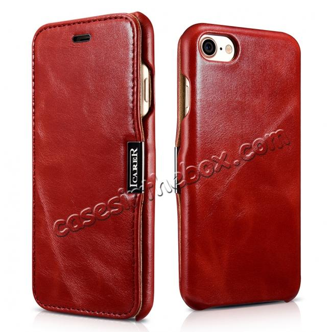 wholesale ICARER Vintage Genuine Leather Side Magnetic Flip Case for Apple iPhone 7 - Red