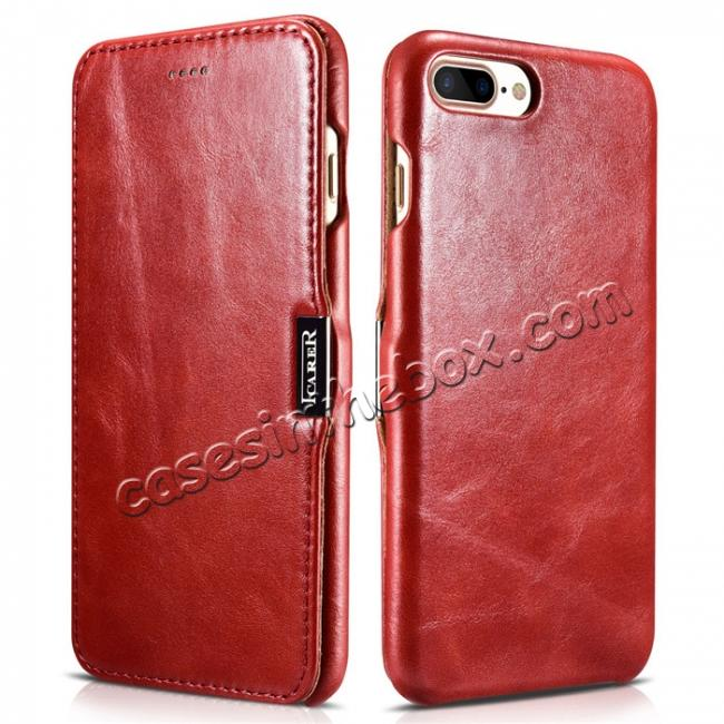 wholesale ICARER Vintage Series Genuine Leather Side Magnetic Flip Case for iPhone 7 Plus 5.5 inch - Red