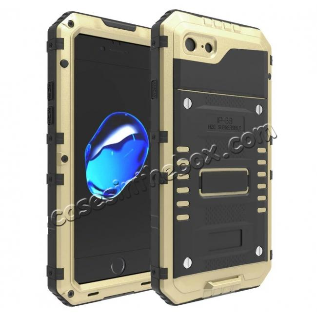 wholesale IP68 Waterproof / Dust Proof / Shockproof Aluminum Metal Case for iPhone 7 4.7inch - Gold