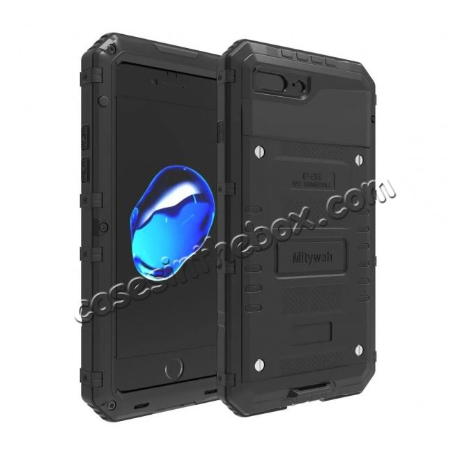 wholesale IP68 Waterproof Shockproof Aluminum Metal Case for iPhone 7 Plus 5.5inch - Black