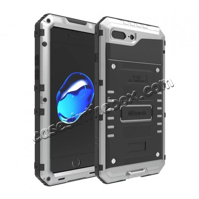 wholesale IP68 Waterproof Shockproof Aluminum Metal Case for iPhone 7 Plus 5.5inch - Silver