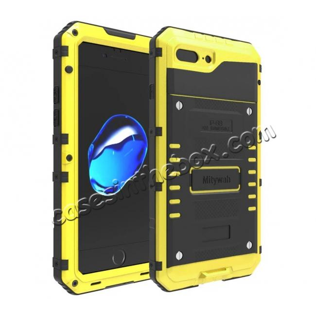 wholesale IP68 Waterproof Shockproof Aluminum Metal Case for iPhone 7 Plus 5.5inch - Yellow