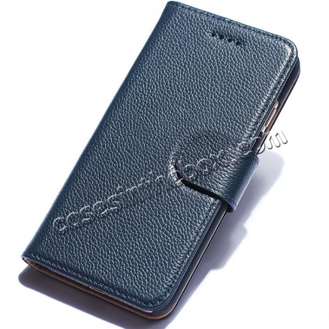 wholesale Litchi Grain Genuine Leather Wallet Cover Case with Card Slot for iPhone 7 Plus 5.5 inch - Blue