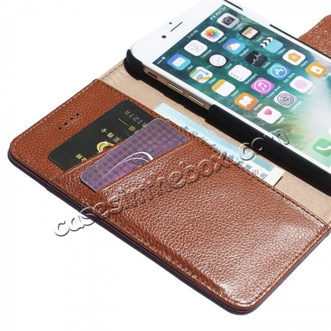 on sale Litchi Grain Genuine Leather Wallet Cover Case with Card Slot for iPhone 7 Plus 5.5 inch - Brown