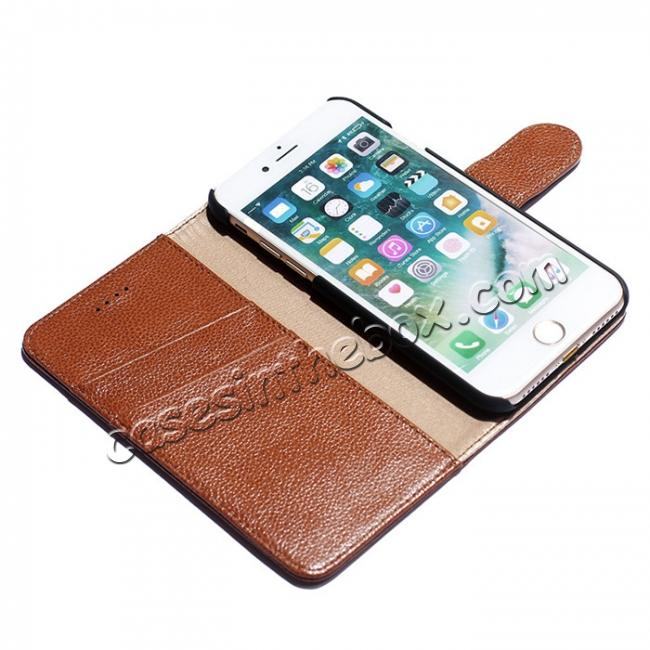 best price Litchi Grain Genuine Leather Wallet Cover Case with Card Slot for iPhone 7 Plus 5.5 inch - Brown
