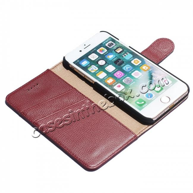 best price Litchi Grain Genuine Leather Wallet Cover Case with Card Slot for iPhone 7 Plus 5.5 inch - Red