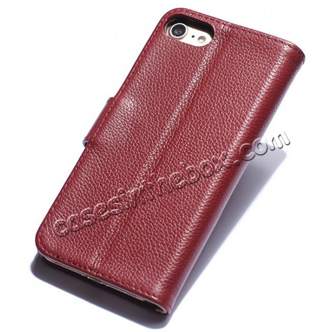 discount Litchi Grain Genuine Leather Wallet Cover Case with Card Slot for iPhone 7 Plus 5.5 inch - Red