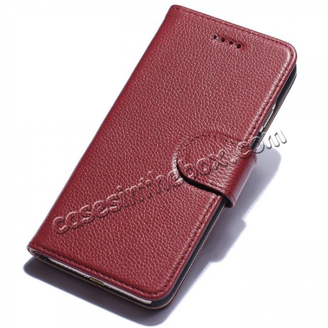 wholesale Litchi Grain Genuine Leather Wallet Cover Case with Card Slot for iPhone 7 Plus 5.5 inch - Red