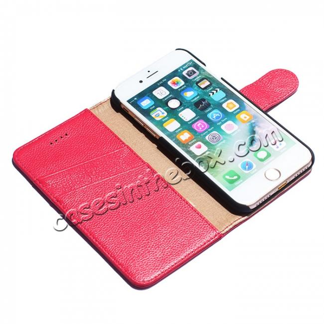 best price Litchi Grain Genuine Leather Wallet Cover Case with Card Slot for iPhone 7 Plus 5.5 inch - Rose
