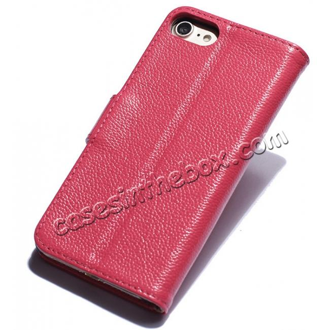 discount Litchi Grain Genuine Leather Wallet Cover Case with Card Slot for iPhone 7 Plus 5.5 inch - Rose