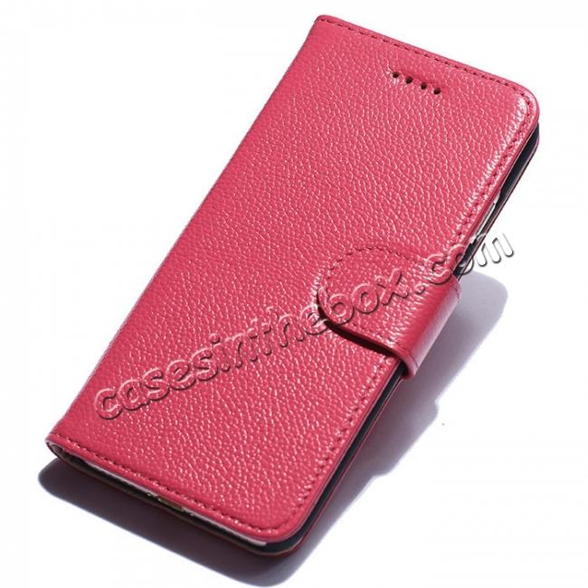 wholesale Litchi Grain Genuine Leather Wallet Cover Case with Card Slot for iPhone 7 Plus 5.5 inch - Rose