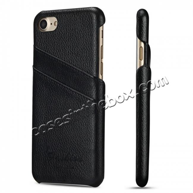 wholesale Litchi Skin Real Genuine Leather Back Card Slots Case Cover For iPhone 7 4.7 inch - Black