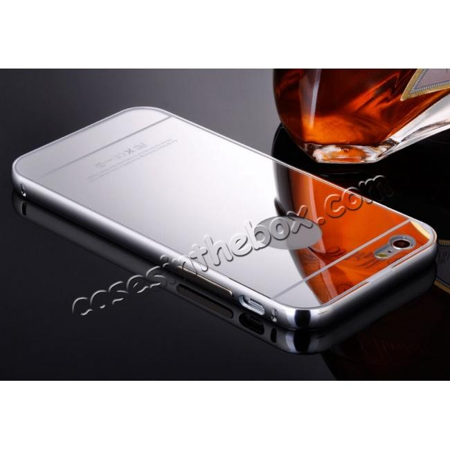 wholesale Luxury Aluminum Metal Bumper Mirror Back Case Cover for iPhone 7 4.7inch - Silver