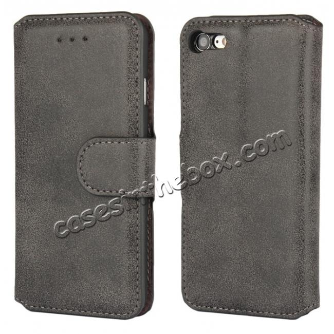 wholesale Matte Frosted Flip Leather Stand Wallet Case for iPhone 7 4.7 inch - Black