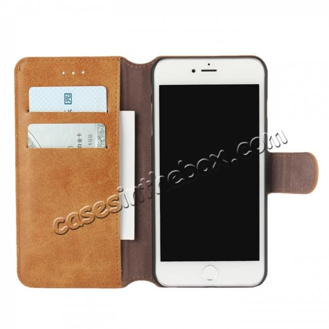discount Matte Frosted Flip Leather Stand Wallet Case for iPhone 7 4.7 inch - Brown