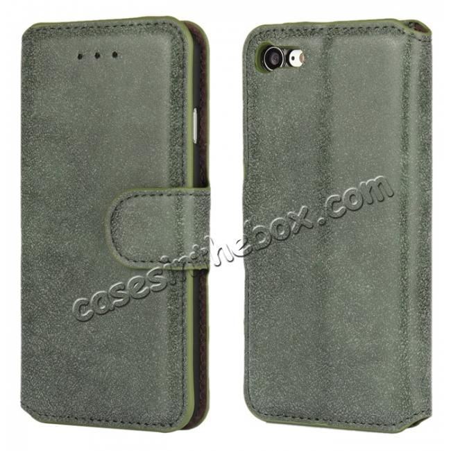 wholesale Matte Frosted Leather Flip Stand Wallet Case for iPhone 7 Plus 5.5 inch - Army Green