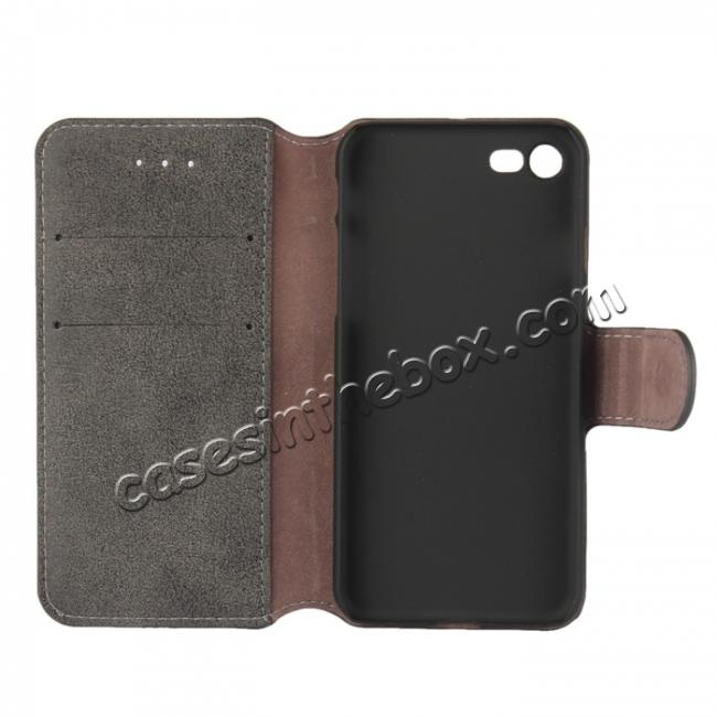 top quality Matte Frosted Leather Flip Stand Wallet Case for iPhone 7 Plus 5.5 inch - Black