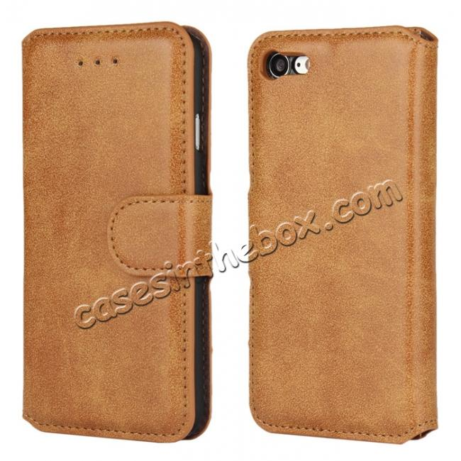 wholesale Matte Frosted Leather Flip Stand Wallet Case for iPhone 7 Plus 5.5 inch - Brown