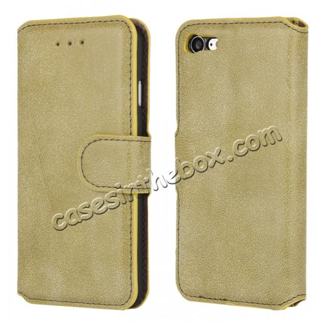 wholesale Matte Frosted Leather Flip Stand Wallet Case for iPhone 7 Plus 5.5 inch - Light Green
