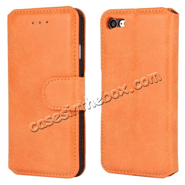 wholesale Matte Frosted Leather Flip Stand Wallet Case for iPhone 7 Plus 5.5 inch - Orange