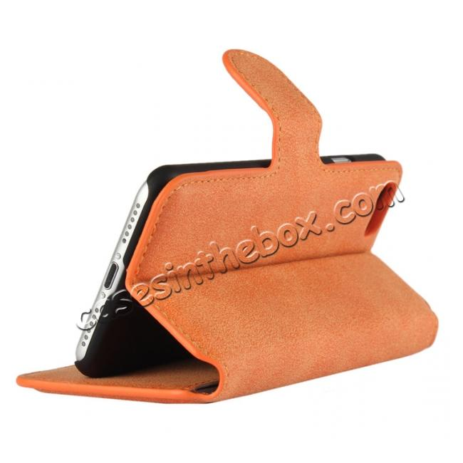 top quality Matte Frosted Leather Flip Stand Wallet Case for iPhone 7 Plus 5.5 inch - Orange