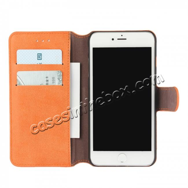 discount Matte Frosted Leather Flip Stand Wallet Case for iPhone 7 Plus 5.5 inch - Orange