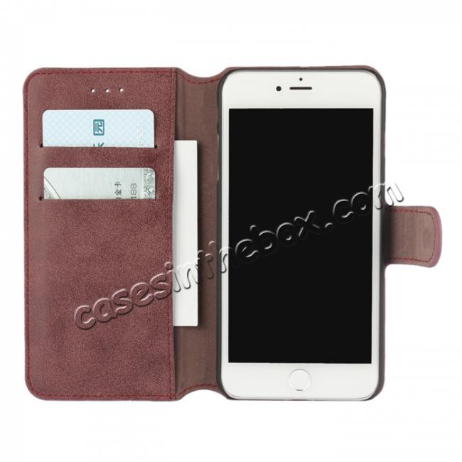 discount Matte Frosted Leather Flip Stand Wallet Case for iPhone 7 Plus 5.5 inch - Wine Red