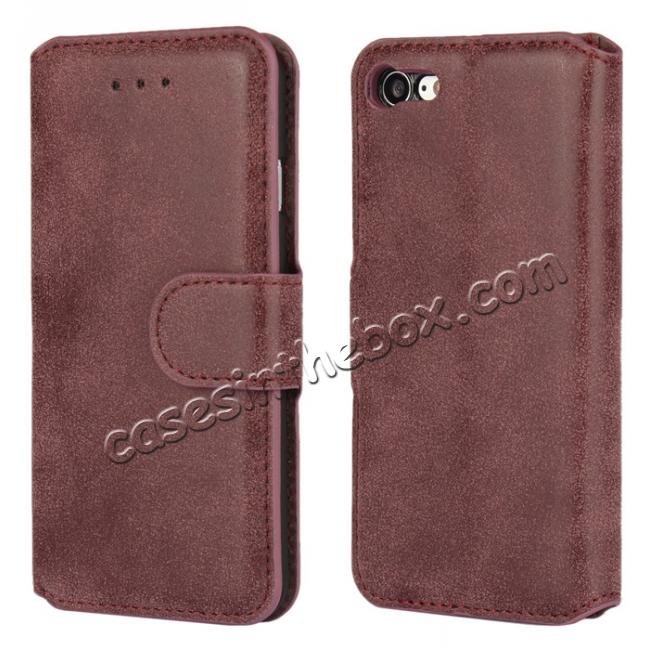 wholesale Matte Frosted Leather Flip Stand Wallet Case for iPhone 7 Plus 5.5 inch - Wine Red