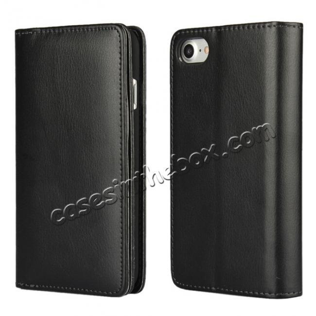 wholesale Multifunction Wallet PU Leather Flip Stand Case For iPhone 7 4.7 inch - Black