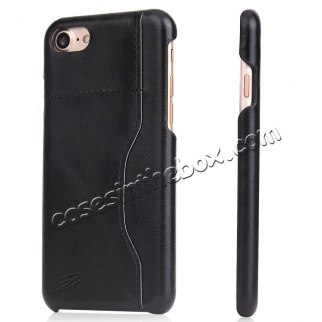 wholesale Oil Wax Grain Genuine Leather Back Cover Case With Card Slot For iPhone 7 4.7 inch - Black
