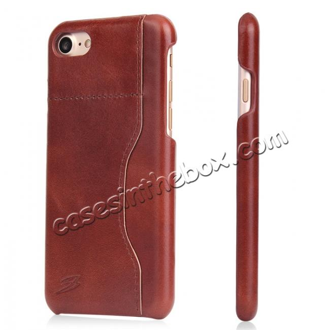 wholesale Oil Wax Grain Genuine Leather Back Cover Case With Card Slot For iPhone 7 4.7 inch - Brown