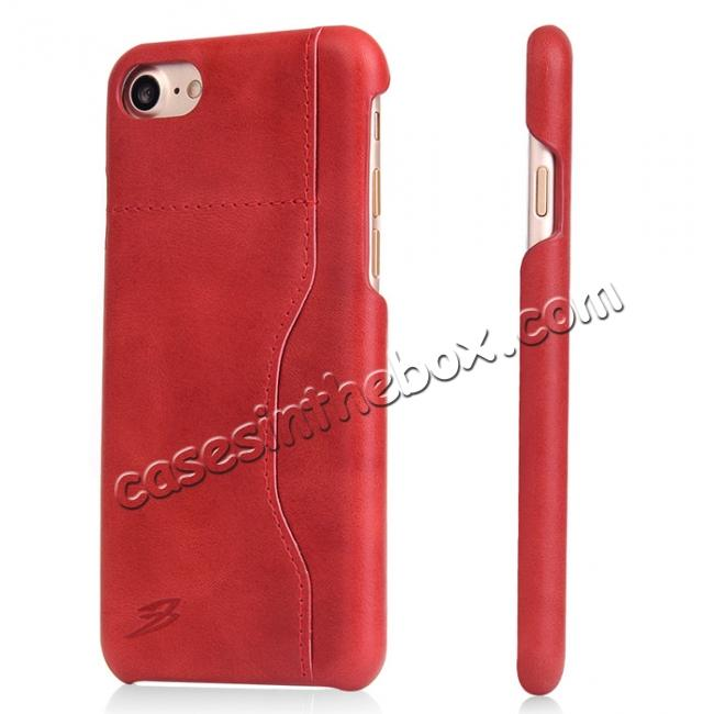 wholesale Oil Wax Grain Genuine Leather Back Cover Case With Card Slot For iPhone 7 4.7 inch - Red