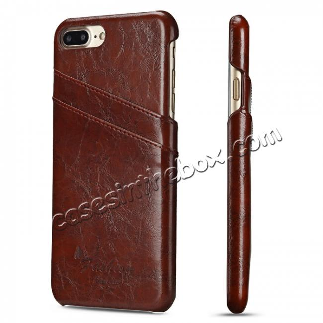 wholesale Oil Wax Pu Leather Credit Card Holder Back Case Cover for iPhone 7 Plus 5.5 inch - Brown