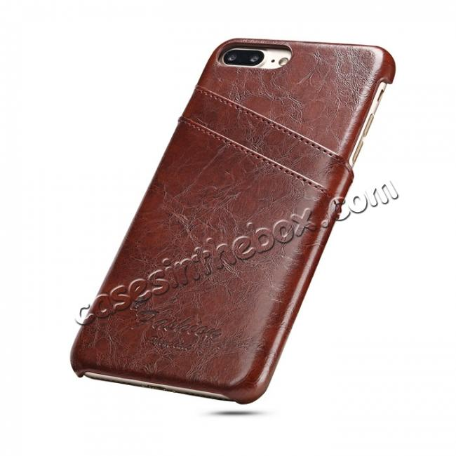 discount Oil Wax Pu Leather Credit Card Holder Back Case Cover for iPhone 7 Plus 5.5 inch - Brown