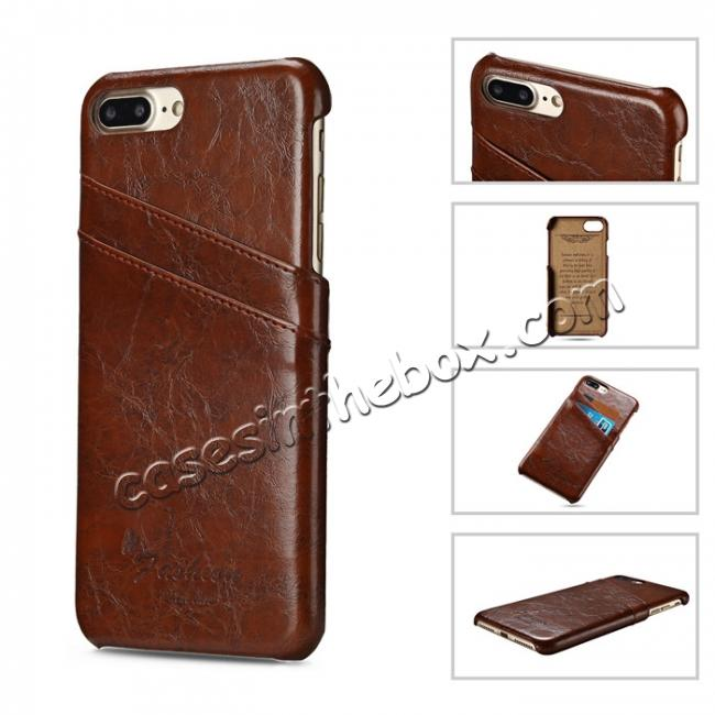 cheap Oil Wax Pu Leather Credit Card Holder Back Case Cover for iPhone 7 Plus 5.5 inch - Brown