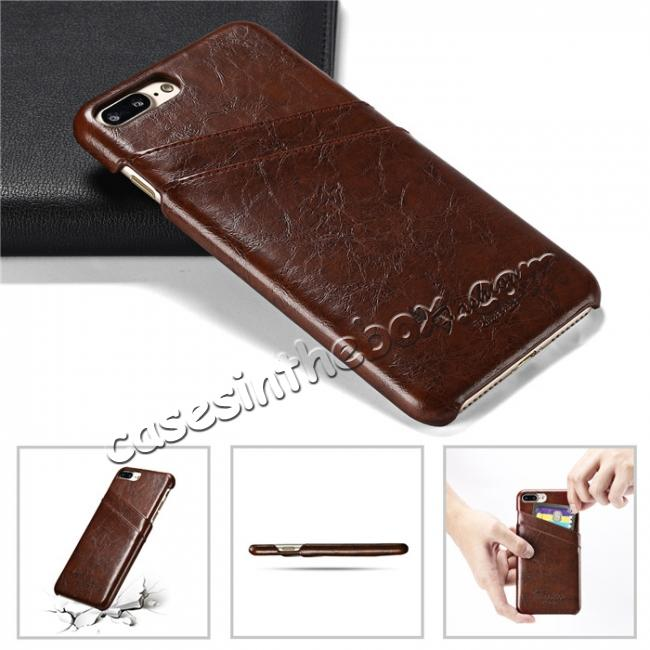 top quality Oil Wax Pu Leather Credit Card Holder Back Case Cover for iPhone 7 Plus 5.5 inch - Brown