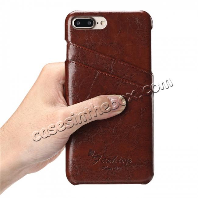 best price Oil Wax Pu Leather Credit Card Holder Back Case Cover for iPhone 7 Plus 5.5 inch - Brown