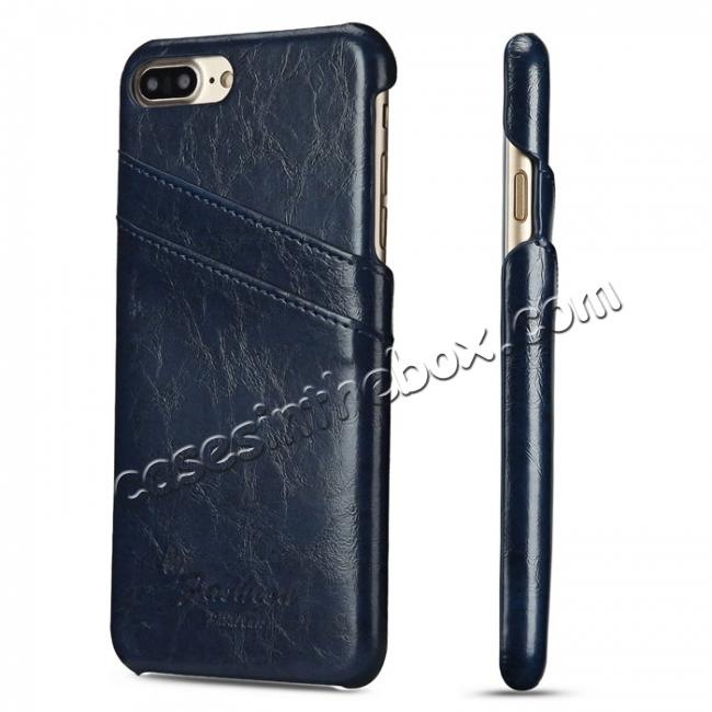 wholesale Oil Wax Pu Leather Credit Card Holder Back Case Cover for iPhone 7 Plus 5.5 inch - Dark Blue
