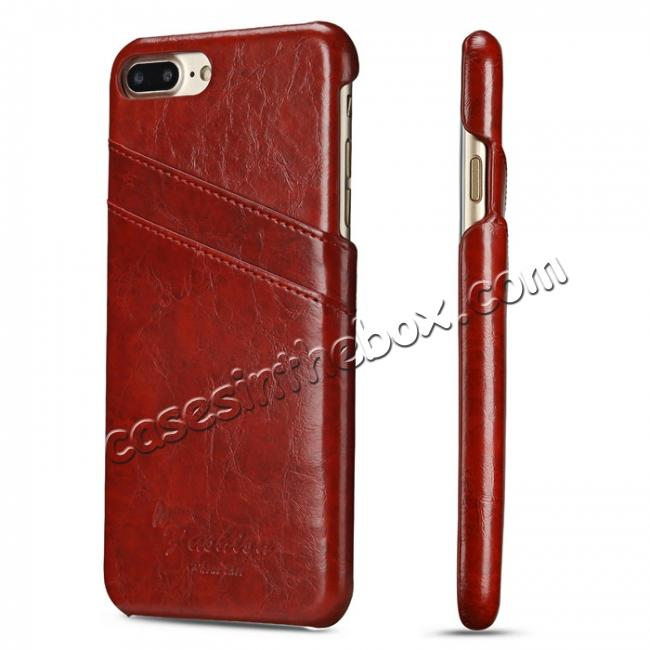 wholesale Oil Wax Pu Leather Credit Card Holder Back Case Cover for iPhone 7 Plus 5.5 inch - Red